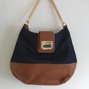 TALBOT Large Navy Cotton & Leather Hobo bag (NWOT)